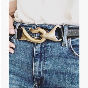 Chico's | Adjustable Fishhook Black Leather Belt